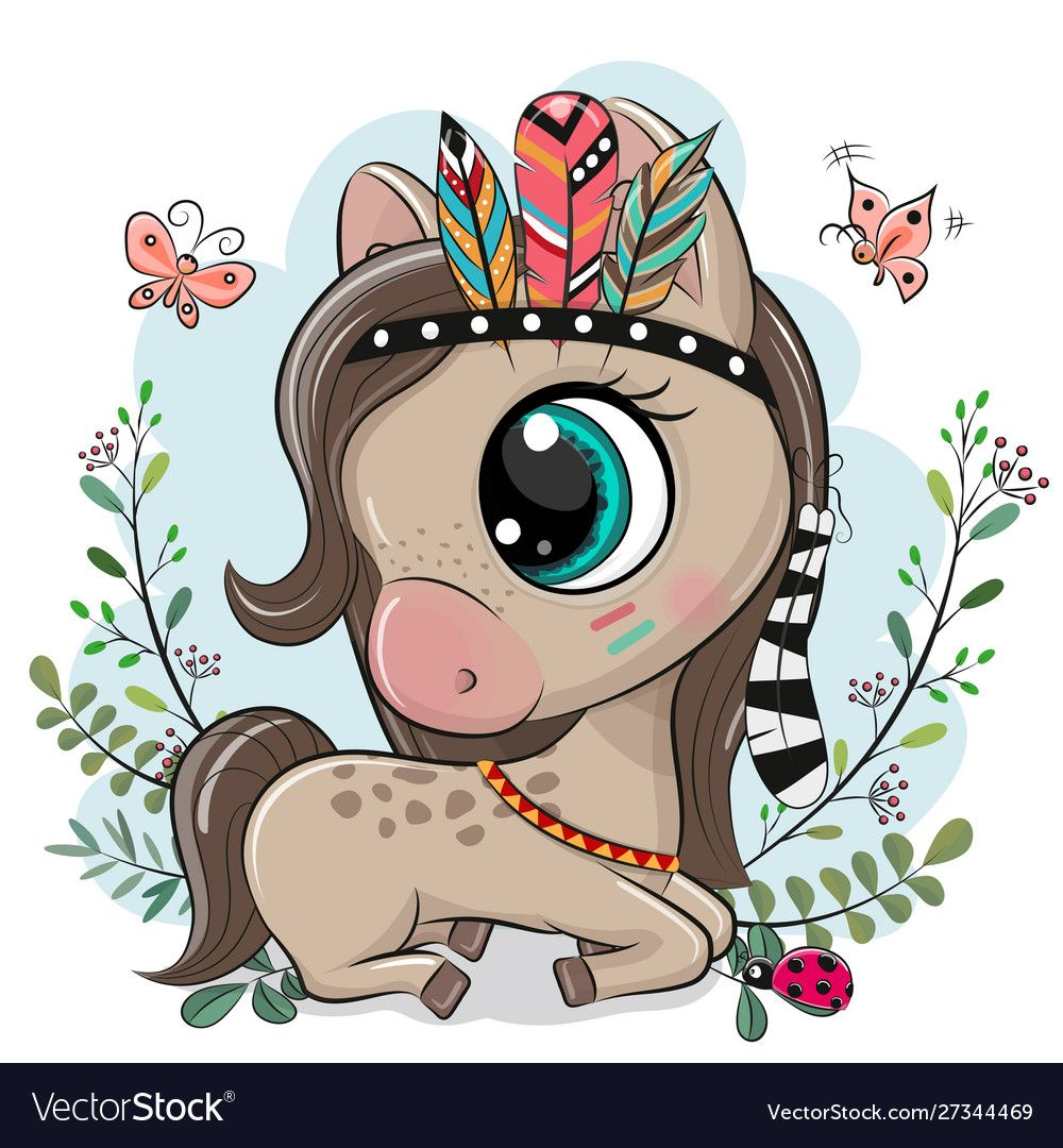 Cute Cartoon Horse With Feathers On A Blue Background Download A Free Preview Or High Quality Adobe Illustrator A Cute Cartoon Drawings Cute Art Horse Cartoon