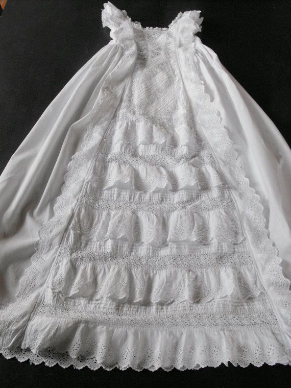 Vintage Victorian Christening Gown English with Lace and Embroidery ...