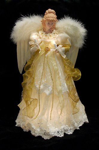 "16.5"" Lighted Ivory and Gold Angel Christmas Tree Topper - Clear Lights by Kurt Adler, http://www.amazon.com/dp/B00414WCS4/ref=cm_sw_r_pi_dp_TRK1rb0QBW583"