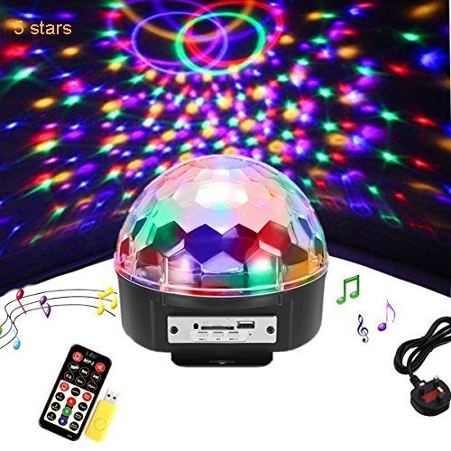 Bluetooth Disco Ball Lights 9 Colors LED Party Lights Sound Activated Rotating Lighs DJ Strobe Club Lamp with Bluetooth Speaker and Remote for Christmas Home KTV DJ Bar Birthday Wedding Dance Show
