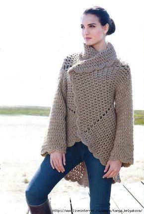 Scorzo Tricroche: Casaco circular em crochê de inverno com gráfico ...