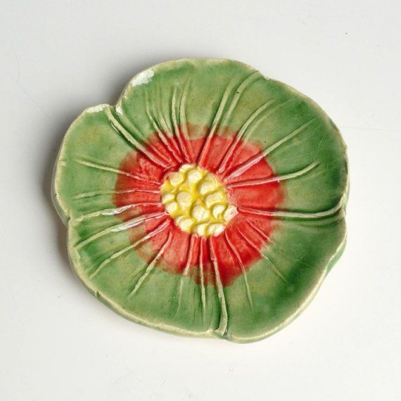 Celadon green and Red Poppy tea bag holder