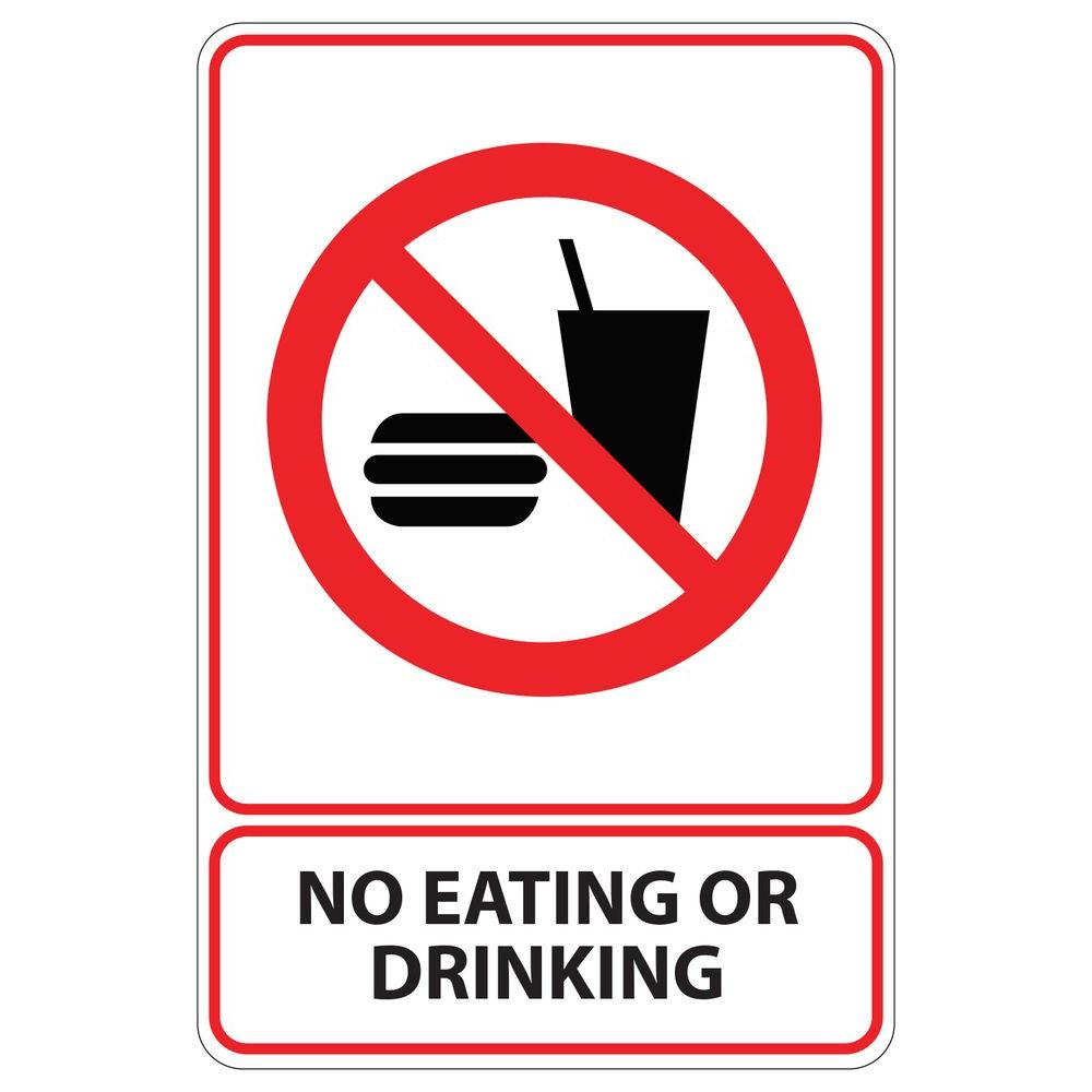 7f7f405b915a 5.5 in. x 8.5 in. Plastic No Eating or Drinking Sign-PSE-0061 in ...