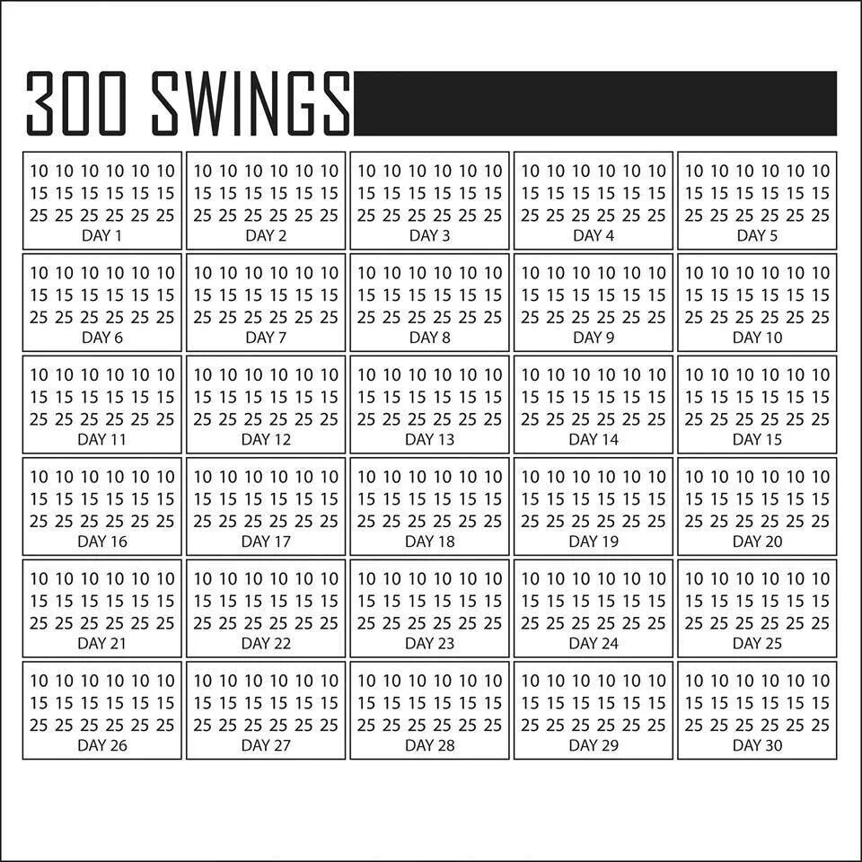 Kettlebell Swing Challenge: 300 Swings A Day Calendar Today Is Day 1 ! 4/19/14