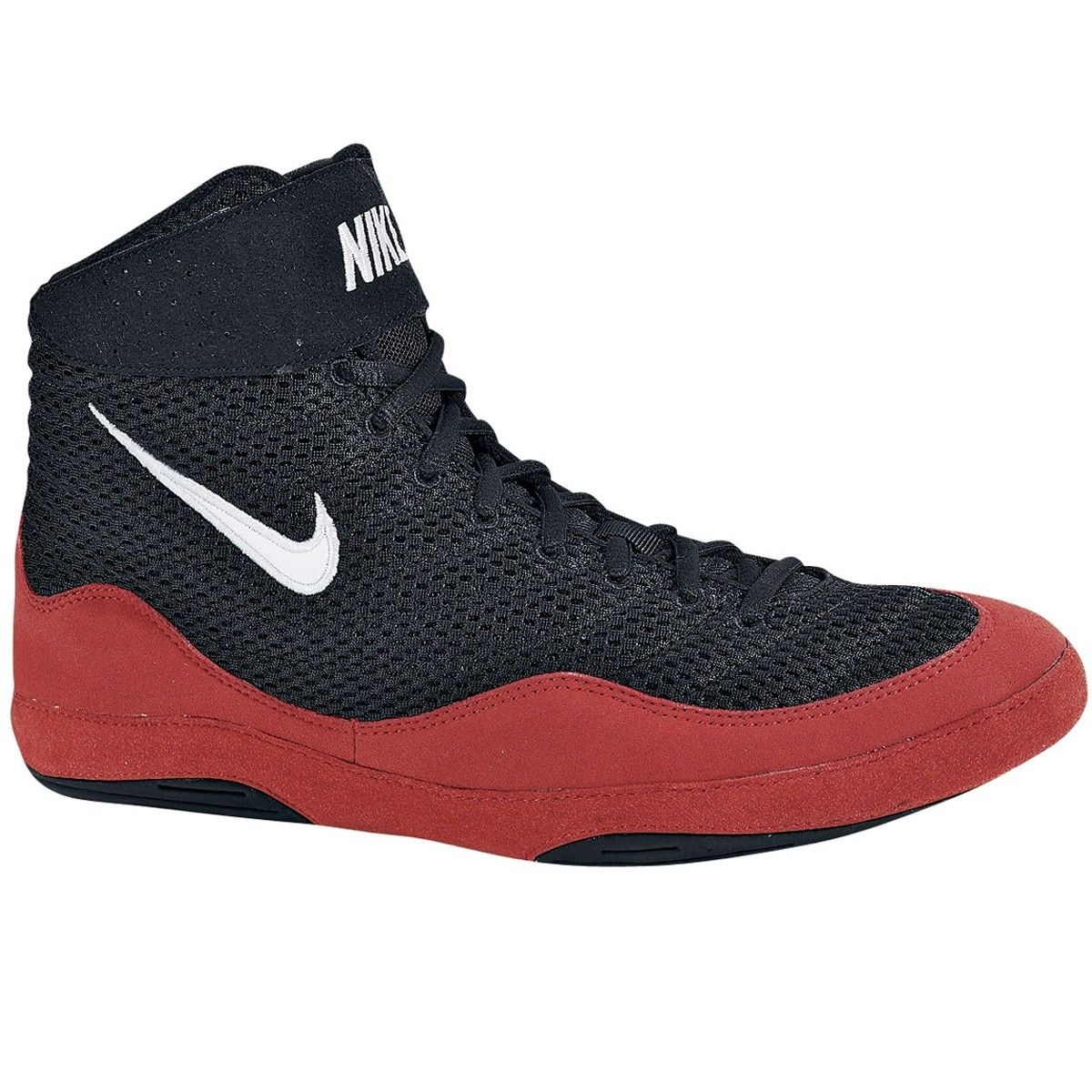 Mens Nike Inflict Wrestling Shoe Black/Game Red/White Size 8 Breathable  mesh upper for freedom of movement.