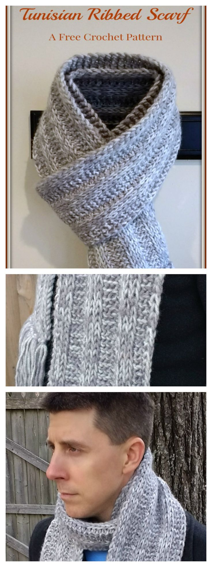 Easy Tunisian Crochet Ribbed Scarf Pattern   Bufanda cuello, Capilla ...