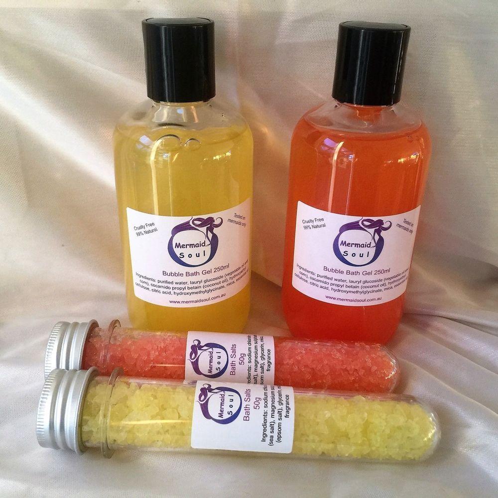 Bubble bath gel bath salts set mandarin grapefruit ylang