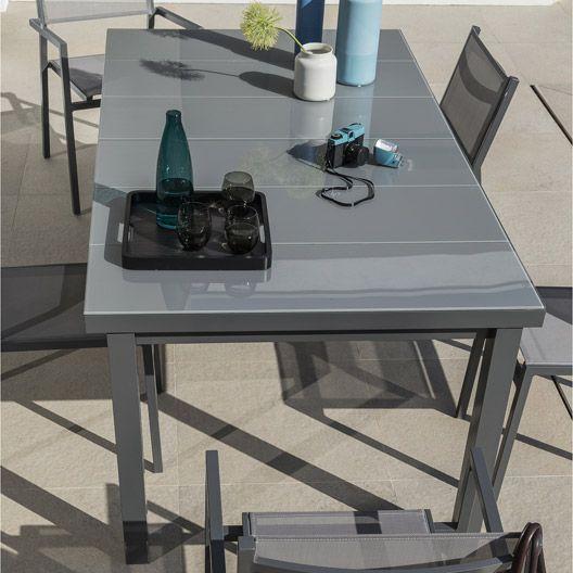Table De Jardin En Aluminium Niagara Gris Naterial | Salon Jardin