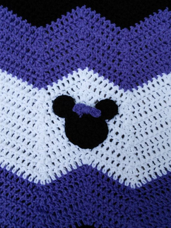 Purple Black and White Minnie Mickey Mouse Crochet Baby Afghan, Baby ...
