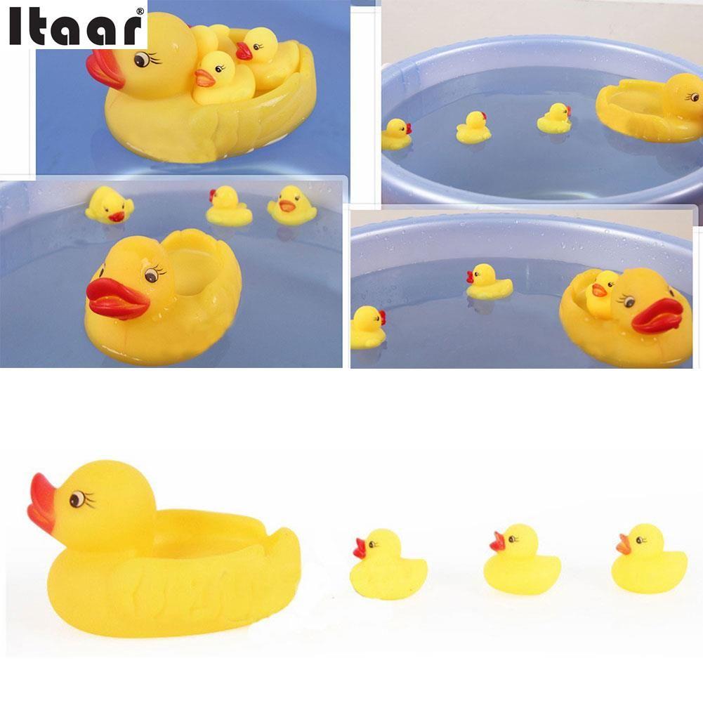 Click to Buy << 4pcs Yellow Rubber Ducks Bathtime Float Squeaky Bath ...