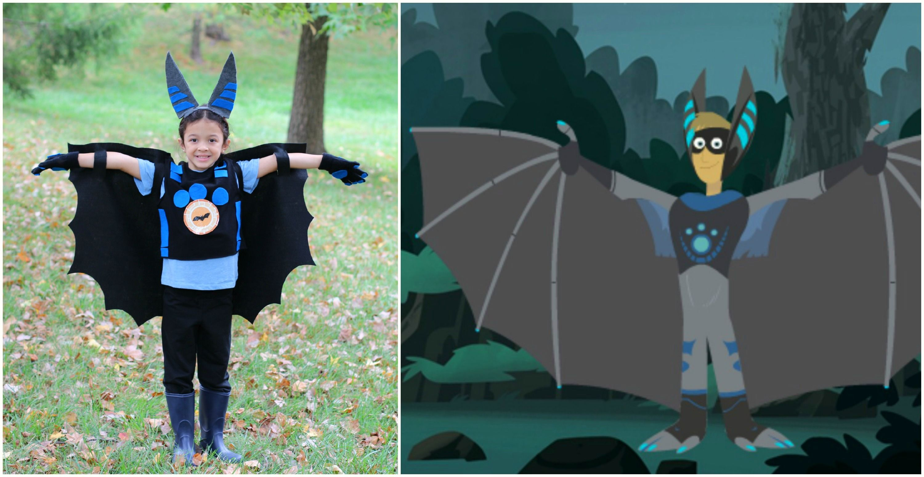 No Sew Wild Kratts Bat Costume Your Child Will Go Batty Over This Awesome Halloween Costume With Images Wild Kratts Costume Kids Costumes Diy Costumes Kids