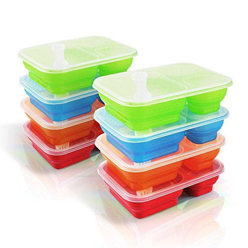 Premium Happy Lunch Boxes with Spoon and Fork - Food Containers  - Kids Adults - Set of 8 *** You can find out more details at the link of the image.
