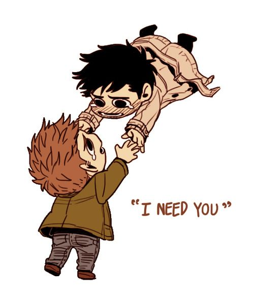 I'm am not a Destiel fan but just look how cute the drawing is <--- HOW CAN YOU NOT SHIP IT