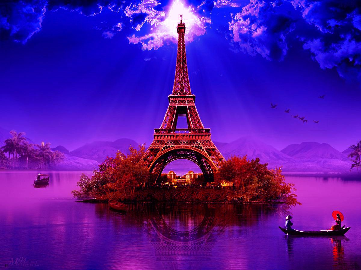 Image For Purple Eiffel Tower Wallpaper