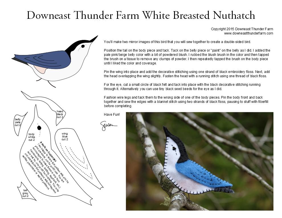 The Tiny White Breasted Nuthatch | Filz, Vorlagen und Stricken