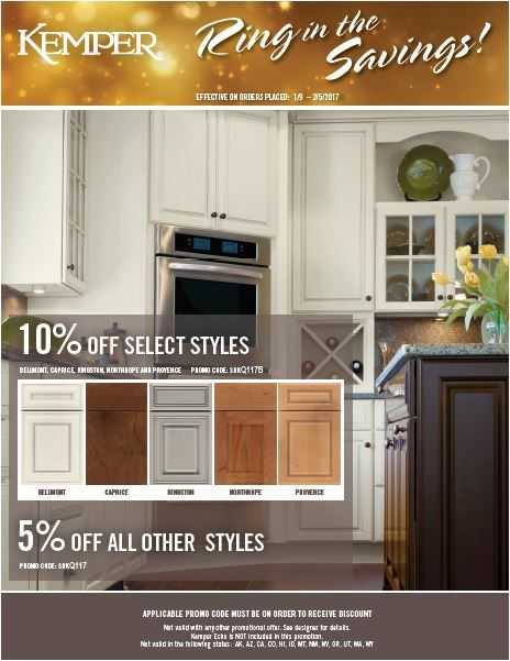 Ring In The Savings with Kemper Cabinets 10% Off Select Styles and 5 ...