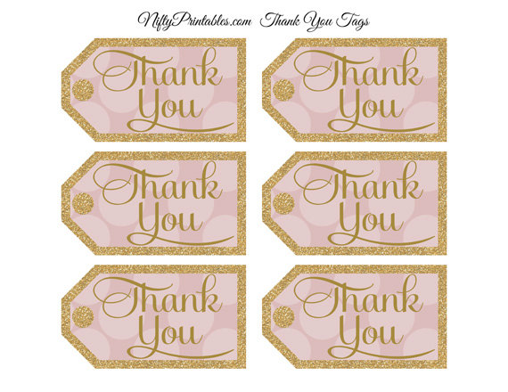 Pink Gold Thank You Tags Printable Gold Glitter Pink Favor Tags