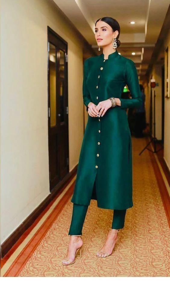 Buy Bottle Green Color Taffeta Silk Women S Stitched Kurti Zinnga Kurti Designs Party Wear Indian Designer Outfits Pakistani Dress Design