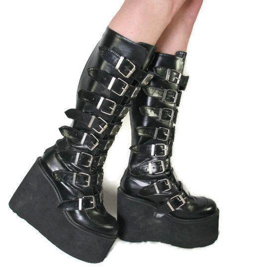Gothic boots, Goth platform boots, Goth