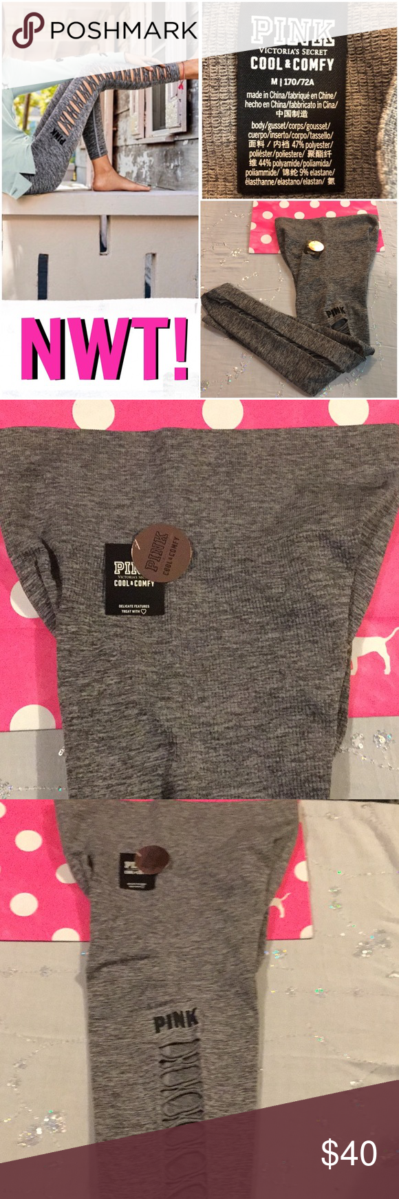 b6e5b38bc49965 NWT! PINK COOL & COMFY CUTOUT TIGHTS NWT! PINK's newest style. These ...