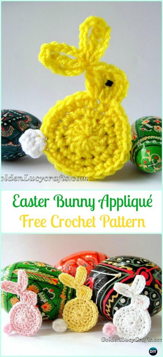Crochet Easter Bunny Appliqué Free Pattern- #Crochet, Bunny Applique ...