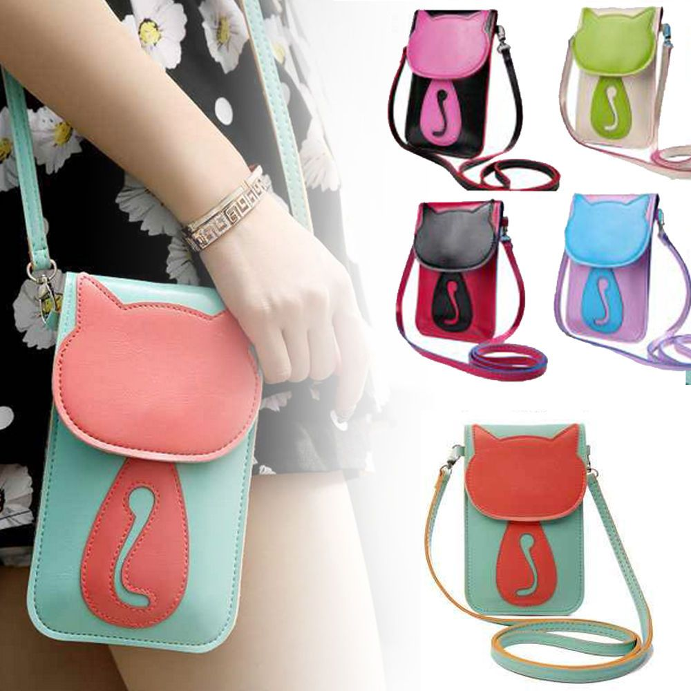 women girl cute cartoon purse bag leather cross body shoulder phone coin bag clothing  [ 1000 x 1000 Pixel ]