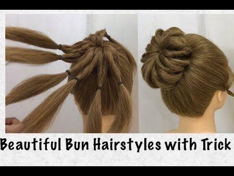 Easy Bun Hairstyles With Trick Beautiful Hairstyle For Wedding Party Youtube Easy Bun Hairstyles Bun Hairstyles Hair Bun Tutorial
