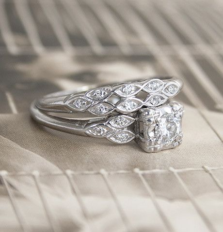 Late 1940s Wedding Set Wedding Rings Vintage Antique Style Engagement Rings 1940s Wedding