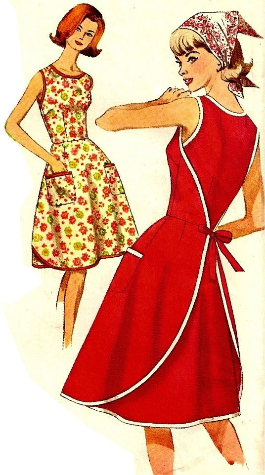 Vintage wrap apron dress sewing pattern, Simplicity 5449, similar to ...