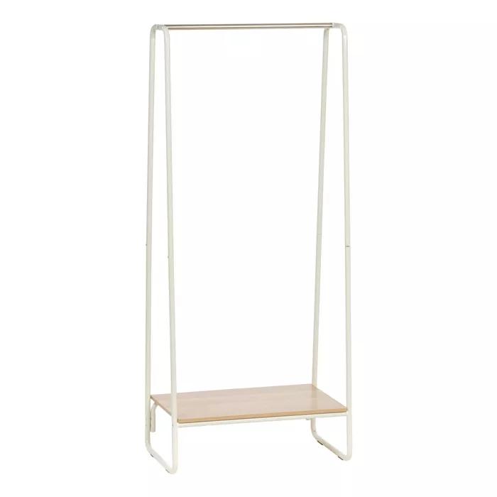 Iris Garment Rack With Wood Shelf White In 2020 Wood Shelves