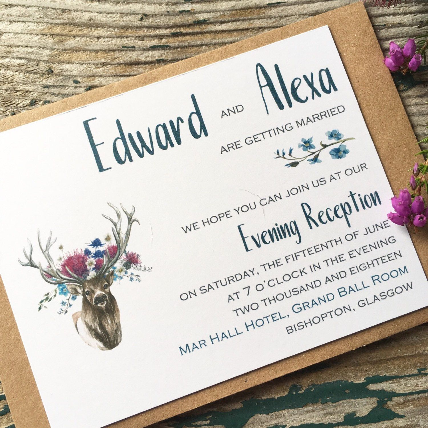 Scottish wedding invitation stationery. These stag reception ...