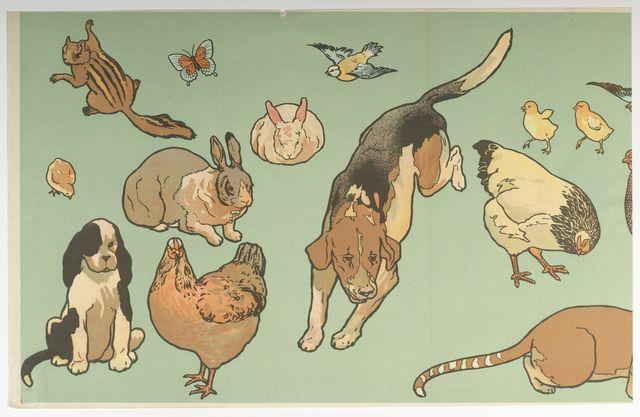 "Frieze - Cut Outs, ""Kindergarten Cut-Outs"", 1907. Chromolithograph on paper. Dogs, hen, rabbit, chicks."