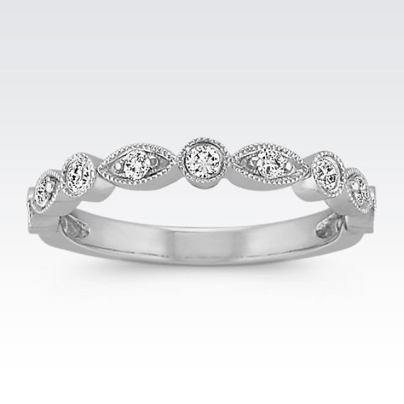 This Lovely Vintage Inspired Ring Is Crafted From Quality 14 Karat White Gold And Features Unique Diamond Wedding