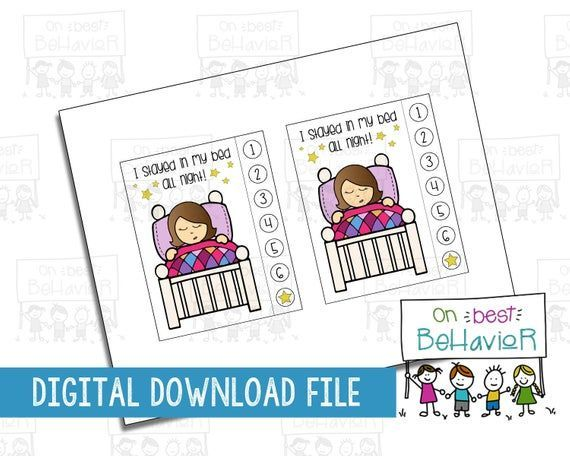 Photo of Sleep Chart Kids 7 Night I Stayed in Bed Bedtime Simple Routine Toddler Incentive Punch Card …