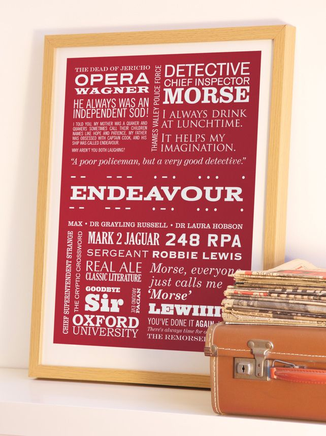 ENDEAVOUR - A2 Inspector Morse Typographic Print