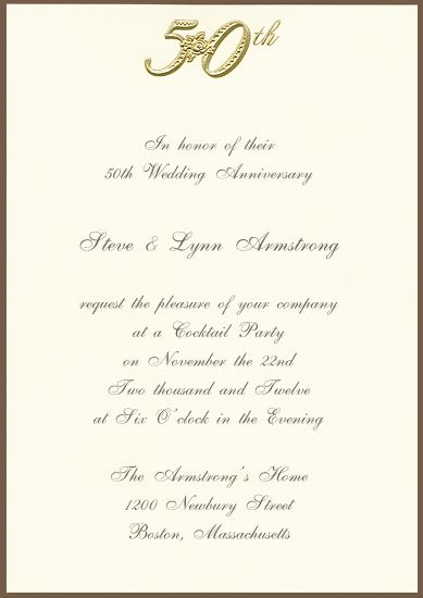 Printable 50th Golden Anniversary Invitation | Party Ideas: 50th ...