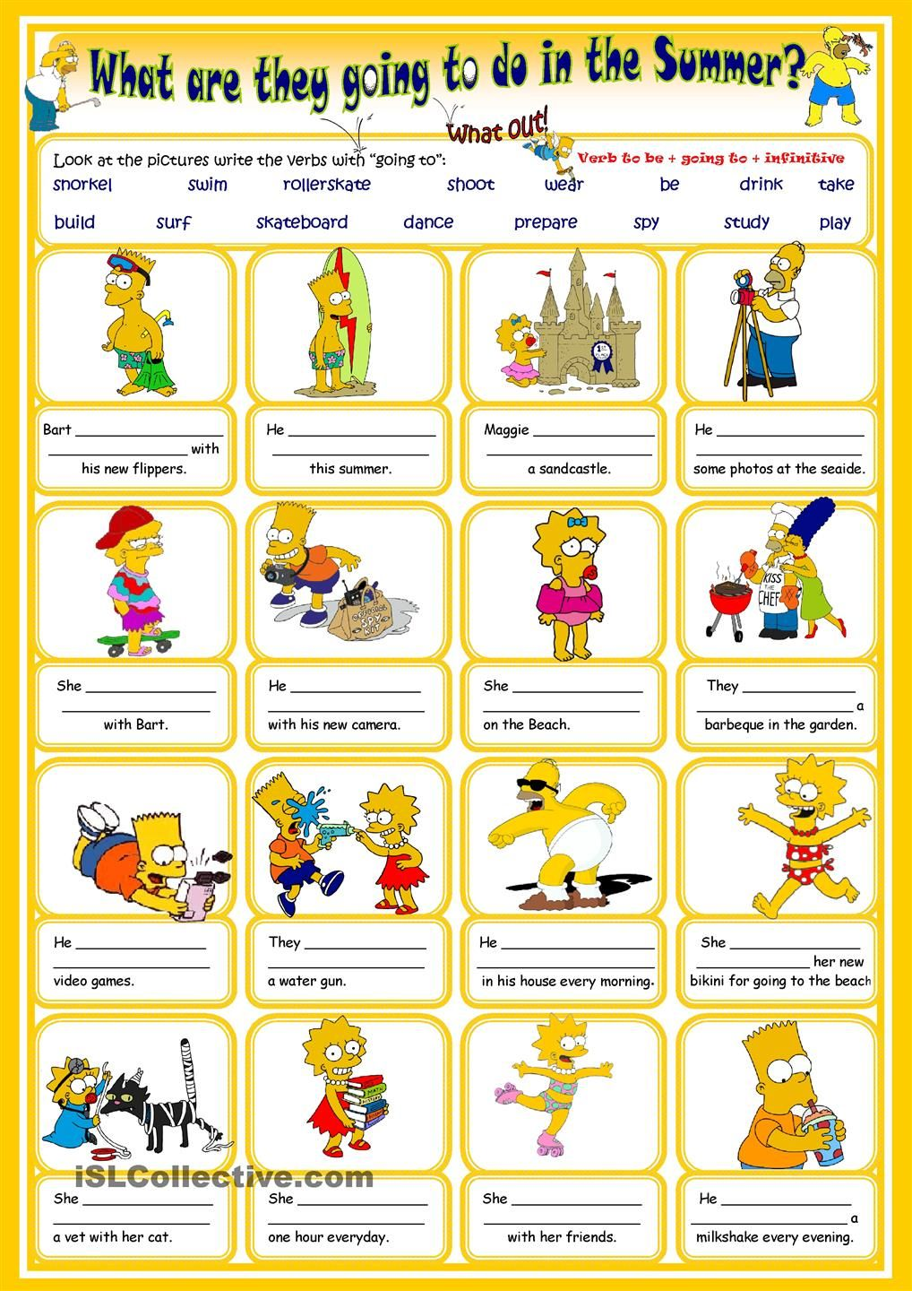 Simpsons Summer With Going To English Lessons For Kids English Activities English Lessons [ 1440 x 1018 Pixel ]