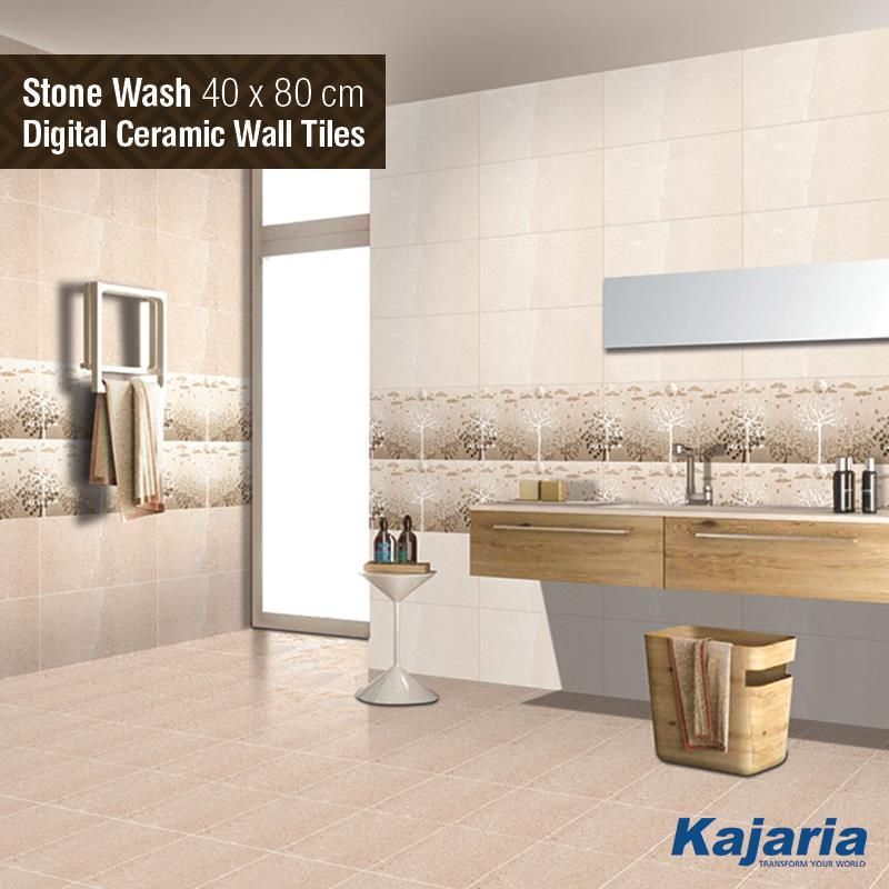 Every time we design tiles, we try to do something different. Stone Wash 40x80 cm Digital Ceramic Wall Tiles is just a result of that. #KajariaCeramics