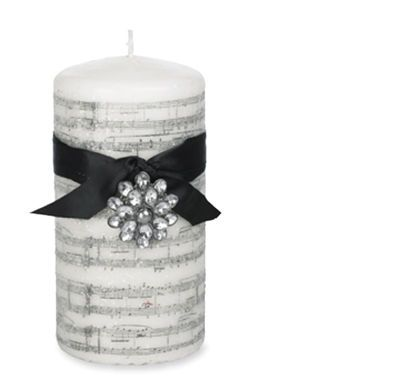 Christmas In July Sugared Music Note Pillar Candle Home Design Ideas