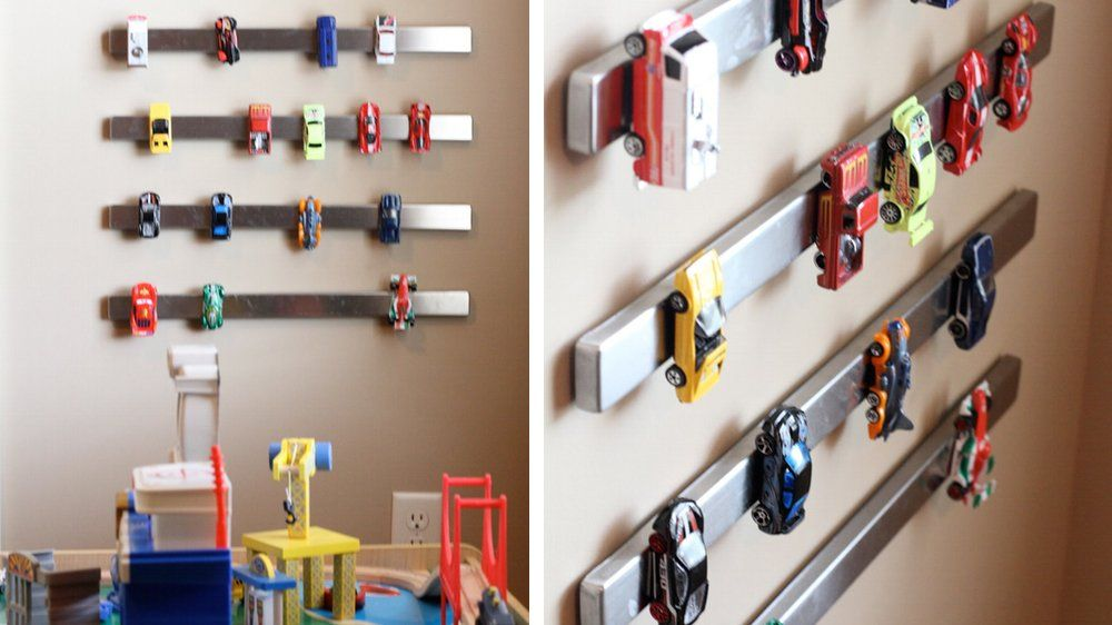 Barres aimant es rangement voitures for Organisation chambre enfant