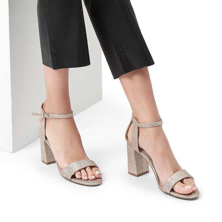 Kiki Metallic Gold Block Heel Sandals