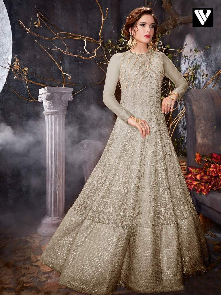 442dc8ccf1 Grey Colored Five Star Net Original Anarkali Suit with stone works  enhancing the embroidered floral patterns all over the kameez. Comes with  matching bottom ...