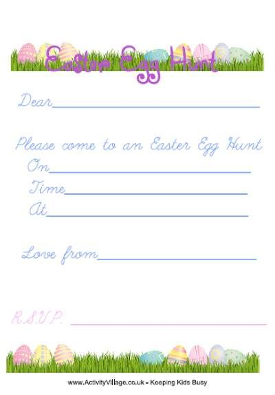 Easter Egg Hunt Invitations  Printables    Easter