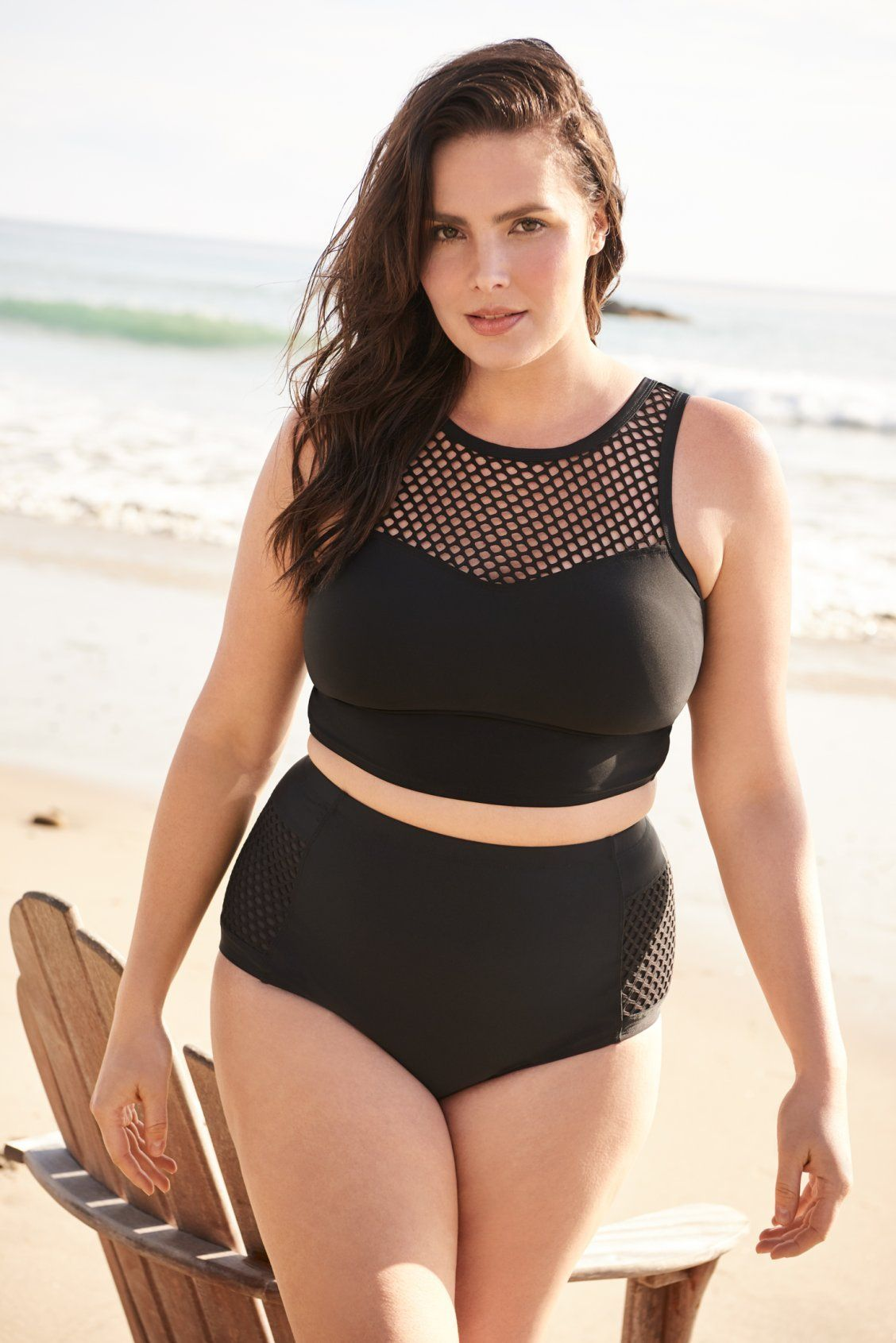 8203ae30d9 Black High Neck Mesh Bikini Top I Plus Size Swimwear