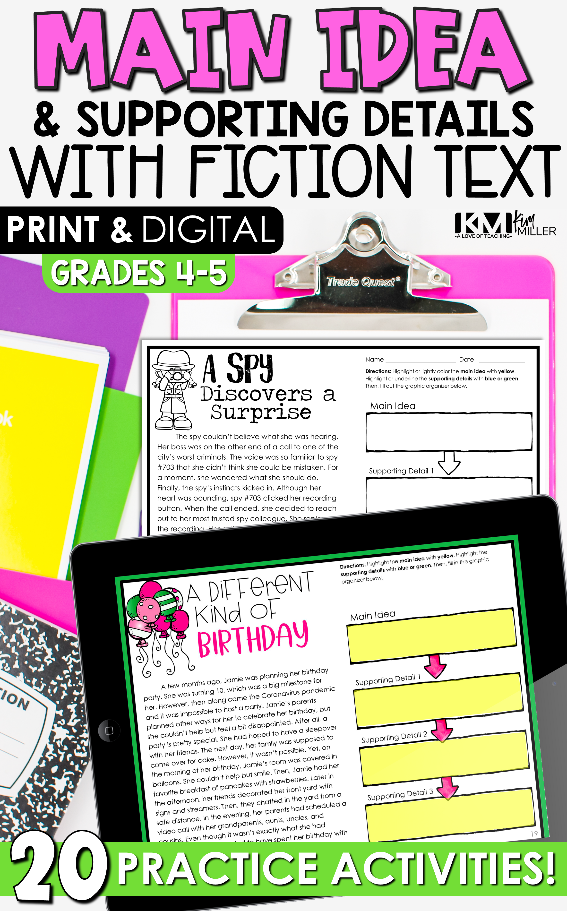 Main Idea Activities and Worksheets for Print or Google Classroom    Teachers pay teachers freebies [ 3750 x 2334 Pixel ]