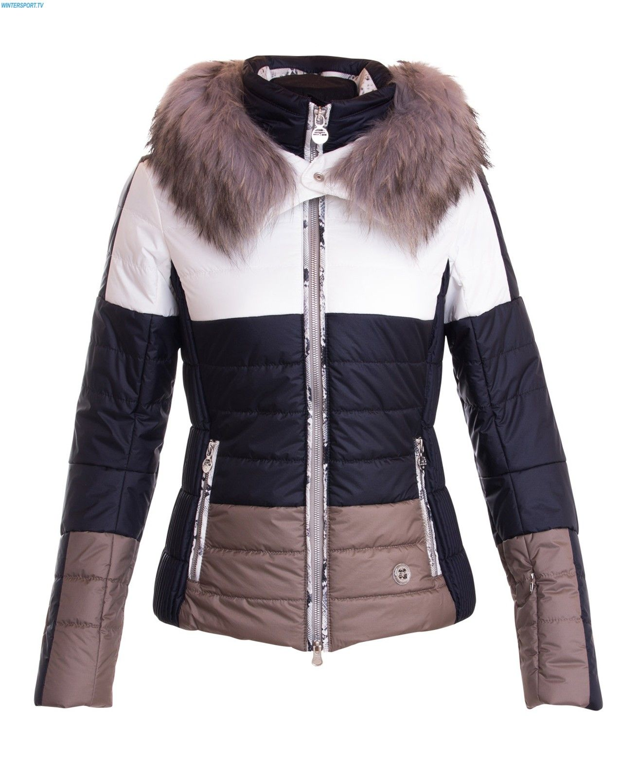 Sportalm Women Huntsville Wild Lightness Jacket with Hood and Fur – Offwhite 7375230dec