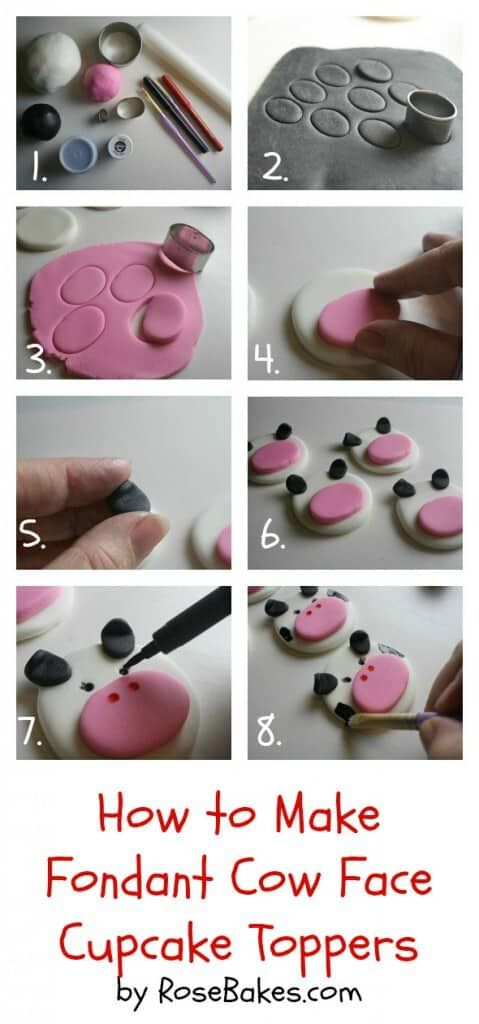 How to Make Fondant Cow Face Cupcake Toppers {Farm Animal Cupcake Toppers Series, Part 4}