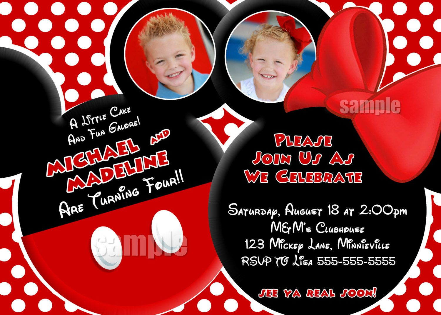 YOU CHOOSE Mickey Mouse Invitation For Twins, Mickey Mouse Minnie ...