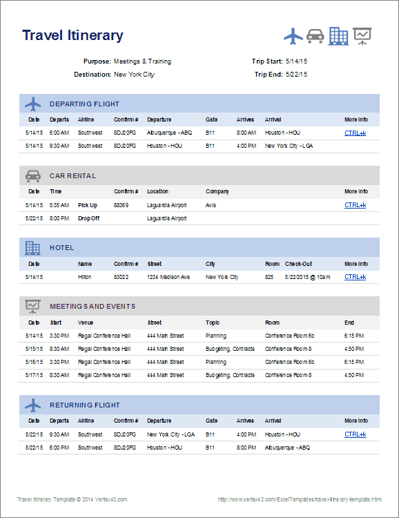 create a one page summary of your travel plans using this itinerary template from httpwwwvertex42comexceltemplatestravel itinerary templatehtml