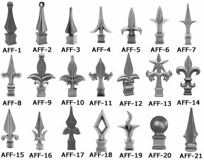 Twenty One Styles Of Casting Aluminum Fence Finials With